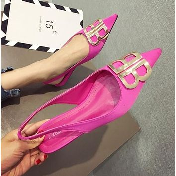 BALENCIAGA Newest Trending Women Stylish Metal BB Buckle Flats Pointed Shoes Single Shoes Rose Red I13718-1