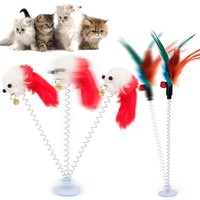 Cat Interactive Toy With Sucker Spring Feather Plush Mouse Funny Pet Toys LBShipping