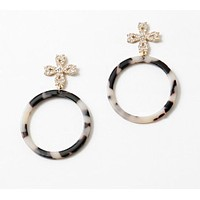 Cross Tortoise Dangle Earrings