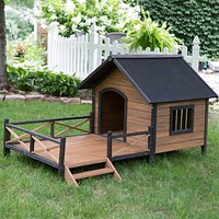 Large Solid Wood Outdoor Dog House with Spacious Deck Porch
