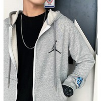 Jordan Autumn And Winter Fashion New Embroidery People Hooded Long Sleeve Coat Gray