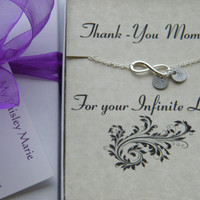 Mothers Day Necklace , Personalized Gift For Mom , Infinity Charm Necklace , Mothers Day Gift