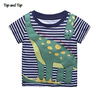 Children T shirts for Boys Clothes Baby Boys Summer Tops Tee Shirts Animal Striped Kids T-shirts Boy Clothing