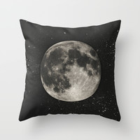 The Moon [Sans Type] Throw Pillow by Heather Landis