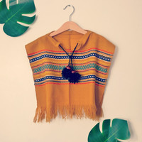 PEACE and COOKIES Tribal Poncho with Vintage Hand Knit Leggings | Hippie Style Boho Baby/Toddler outfit w/Tassels and Fringe | Eco Friendly