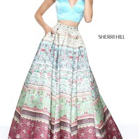 Sherri Hill 50792 Boho Halter Two Piece Ball Gown