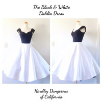 The Black and White Dahlia SATEEN Swing Dress With Cap Sleeves, VLV Rockabilly Pin Up Party Special Occasion Dress Knit Mod Dress