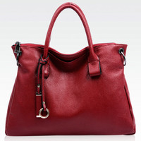 Fashionista Charms Burgundy Large Leather Tote. Dark Red Document Bag