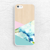 Geometric Wood print Phone Case for iPhone, Sony z1 z2 z3, LG g3 g2, HTC one m7 m8, Moto g Moto x, blue watercolor wood print phone case -S8