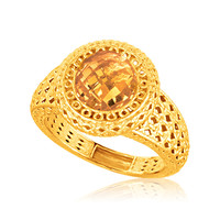 Italian Design 14K Yellow Gold Crochet Halo Ring with Round Citrine