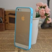 Baby Blue Lovely Soft Trim High Clear Back Hard Cover Bumper Case for iPhone 5 5G