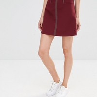 Whistles Rita A-Line Mini Skirt with Contrast Stitching at asos.com