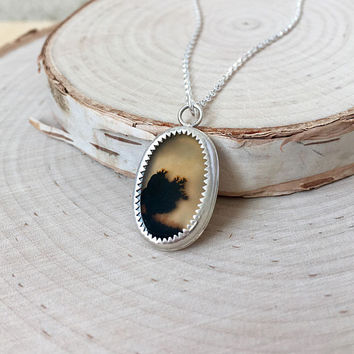 Stunning, Dendritic Agate Slice in .925 Sterling Silver with Rolo Chain, Fern Agate Pendant, Handmade Silver Bezel, Unique Gemstone Necklae