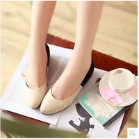 Women new fashion Spring summer color block round toe shallow mouth PU soft flats shoes