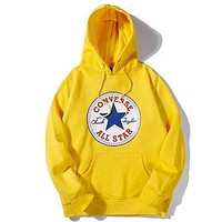 Converse new classic print sports long sleeve hooded sweater yellow