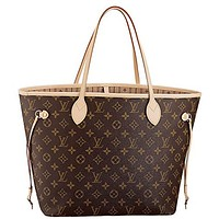 Louis Vuitton Neverfull MM Monogram Fashion Women Canvas Handbag Shoulder Bag Tote Trending Purse I