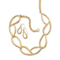 Gold Tone Tear Drop Link Fashion Necklace and Earring Set