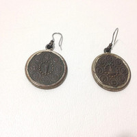 Vintage Earrings, Coin Earrings, Brass Goddess Coins, Pierced Earrings, Old Coin Earrings