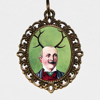 Man With Antlers Necklace, Moustache, Deer, Man Wearing Antlers, Antlers Jewely, Oval Pendant