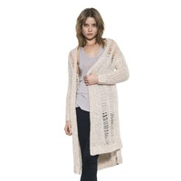 Womens Cream Dale Distressed Cardigan Long Sleeve Sweater By One Grey Day