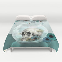 Looking glass skull Duvet Cover by Kristy Patterson Design