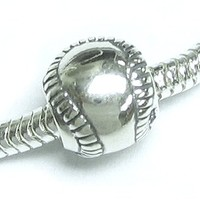 Sterling Silver Baseball European Style Bead Charm