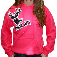 Distressed Hoodie - Berry Pink with White Logo
