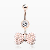 Rose Gold Pearlescent Bow-Tie Sparkle Belly Button Ring