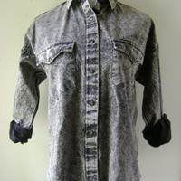 Gray Acid Wash Blouse Vintage 90s Snap Western Shirt Size 11/12 M/L Medium Large Country Hipster Cotton Top Long Sleeves Boho Hippie Denim