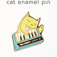 Keyboard Cat Pin (Blue) - Cat Enamel Pin by boygirlparty