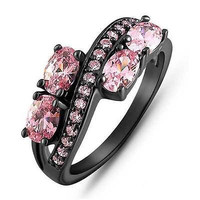 PINK Gematone Stud sterling silver wedding Ring with free ship