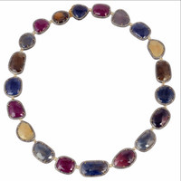 Sapphire Ruby Diamond Necklace 18kt 925 Sterling Silver