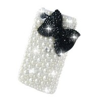 Classic Bling Bownot Full Pearls Diamond Crystal Hard Case Cover for Iphone 4 / 4s / 4g