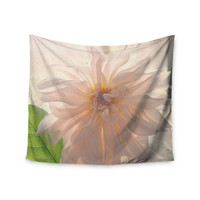 """Robin Dickinson """"Buy Her Flowers"""" White Pink Wall Tapestry"""