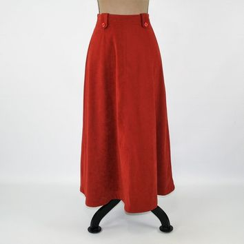 Fall Skirt High Waisted A Line Maxi Rust Skirt with Pockets Long Skirt Women Small Petite Size 6 Skirt Coldwater Creek Vintage Clothing