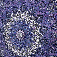 Popular Handicrafts Hippie Kaleidoscopic Star Intricate Floral Design Indian Bedspread Tapestry 84x90 Inches,(215cmsx230cms) Blue Purple