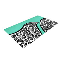 """Pom Graphic Design """"Two Romantic Birds"""" Abstract Teal Woven Area Rug"""