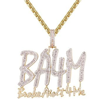 Gold Tone Broke Aint 4 me Icy Hip Hop Custom Pendant