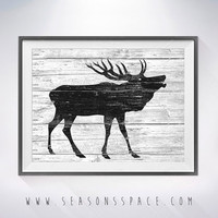 Deer 2 art illustration, Deer painting, Nautical, Wall art,Rustic Wood art,Animal print,Home Decor,Animal silhouette,Kitchen decor,art print