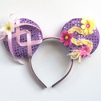 Tangled Disney inspired Ears, Rapunzel Ears, Tangled Mickey Ears, Disney inspired Tangled Ears, Ready to Ship Disney Ears