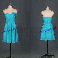 Short sage chiffon bridesmaid dresses with flowers,2014 simple women dress for wedding party,affordable bridesmaid gowns under 100.
