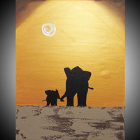 "ARTFINDER: original abstract landscape "" elephants , A hand to hold "" africa animal painting art canvas - 30 x 40"" by Stuart Wright - A decent sized original abstract canvas paintin..."
