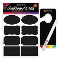 Colore Chalkboard Labels - Awesome Stickers For Toy, Office Supplies, Wall, Bakers Rack With Wine Storage - FREE Chalk Pen & Door Hanger - Kitchen Pantry Canisters and Kids Closet Organizers - 56 Pack