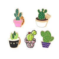Cute Cartoon Enamel Metal Badges Brooches Cactus Potted Plant Buckle Pins Denim Jackets Decoration Brooch Pin for Women Jewelry