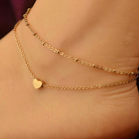 New Charm Gold Plated  Heart Love Shape Ankle Bracelet Chain