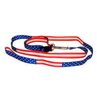 Dog Collar and Dog Leash - American Flag Style - For Smaller Dogs - For Cats - Patriotic USA Flag - EVK Planet