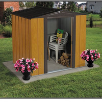 Woodgrain Finish Steel Metal Storage Shed - Made in USA