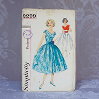 Vintage Party Dress Sewing Pattern Simplicity 2299, Size 12 Medium 1950s Full flared dance-loving skirt, Belted Dress or Sash at Waist