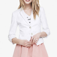 20 INCH RUCHED SLEEVE COTTON JACKET from EXPRESS