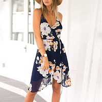 2017 Fashion Women Summer Boho Chiffon Floral Beach Sundress Maxi Cocktail Party Black Backless Spaghetti Strap Short Dress